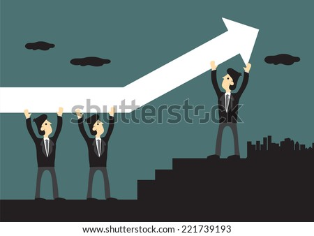 Vector illustration of three businessmen carrying a huge up arrow sign. Conceptual design for teamwork and business success. - stock vector
