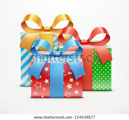 Vector illustration of three color present boxes isolated on white background. - stock vector