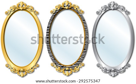Vector Illustration of three different elegant oval shaped mirrors. - stock vector