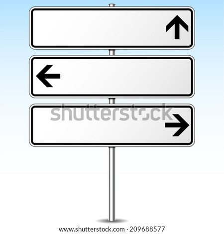 Vector illustration of three directions roadsign concept - stock vector