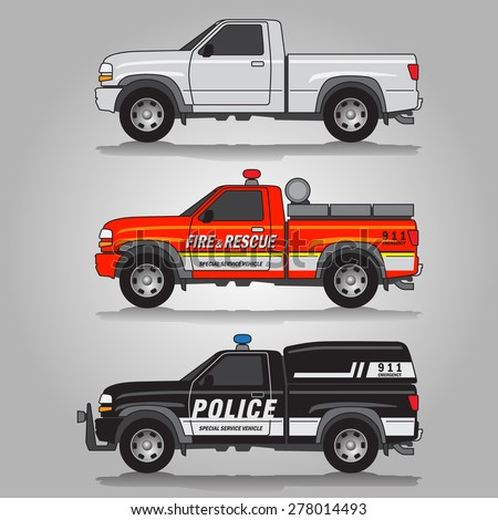 Vector illustration of three variations of pick-up trucks including white pick-up truck, fire & rescue truck and police truck - stock vector