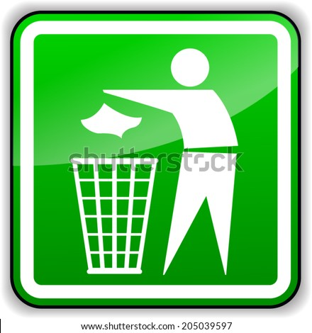 Vector illustration of throw away trash green sign - stock vector