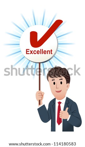 Vector illustration of Thumb up businessman holding up a excellent score board with ticked mark. isolated on white. - stock vector