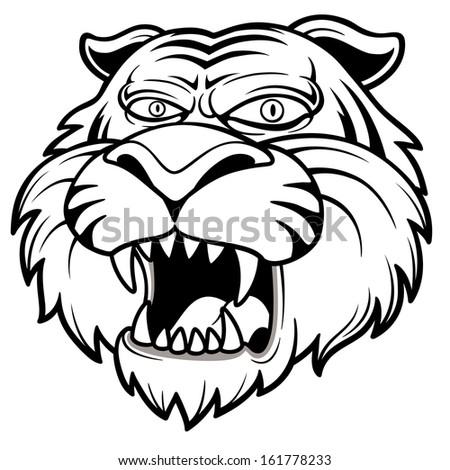 Vector illustration of Tiger head - stock vector