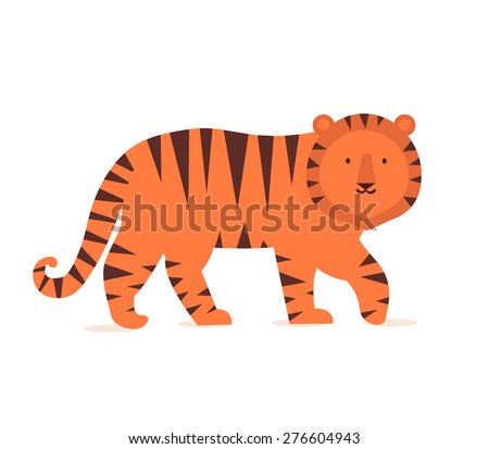 Vector illustration of Tiger walking flat icon, logo, symbol design. cartoon character on white background  - stock vector