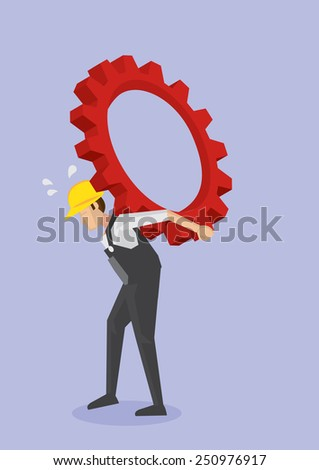 Vector illustration of tired labor worker in yellow helmet and overall work clothes carrying heavy toothed-wheel gear on bent back. Concept for hard work and struggle of blue collar working class - stock vector