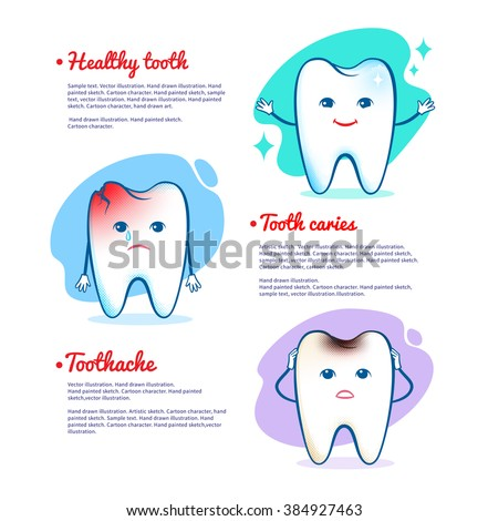 Vector illustration of toothache, tooth caries and healthy tooth concept.  - stock vector