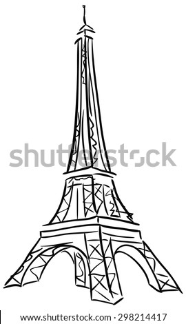 Vector illustration of Tower Eiffel. Black and white drawing. - stock vector