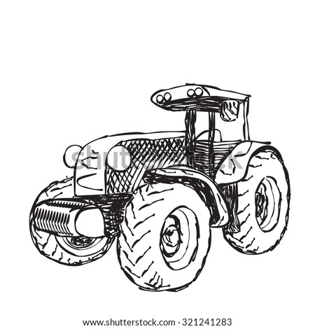 Vector illustration of tractor in hand sketched style - stock vector