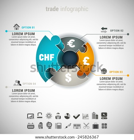 Vector illustration of trade infographic made of different currencies and puzzle.  - stock vector