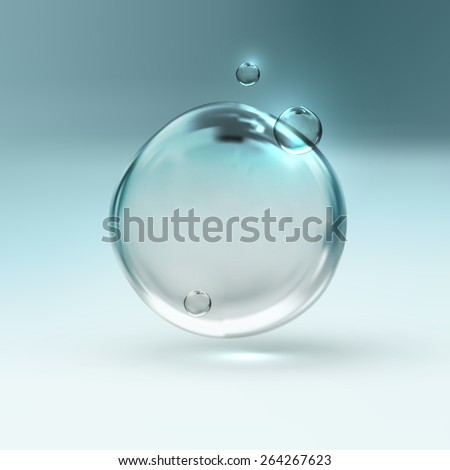 vector illustration of transparent fresh shiny water bubbles - stock vector