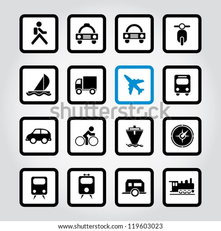 Vector illustration of travel and transportation icons. - stock vector