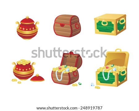 vector illustration of treasure chest full of gold coins and gems. Vector elements for the development of games and applications - stock vector