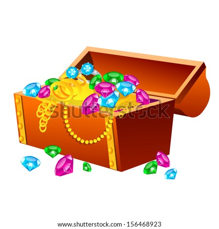 Vector illustration of treasure chest on white background. Illustration of a traditional treasure chest with gold coins, jewelry and gems. - stock vector