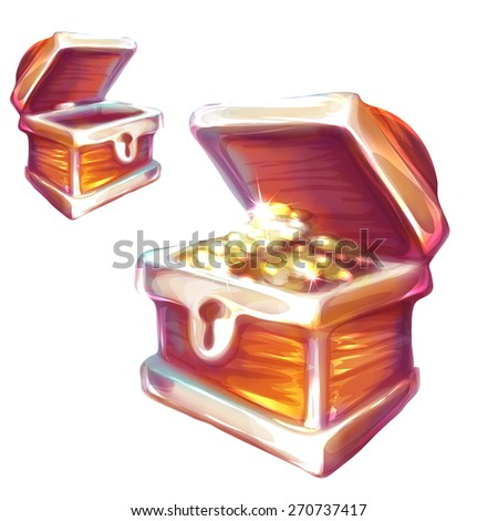 Vector illustration of treasure chest with and without coins. - stock vector