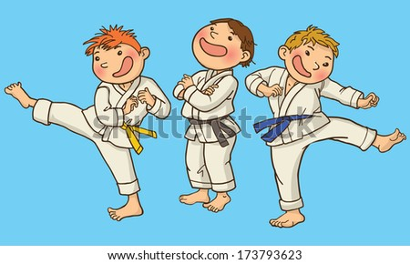 Vector illustration of Tree Boy Karate. SPORT. Children illustration for School books, magazines, advertising and more. Separate Objects. VECTOR. - stock vector