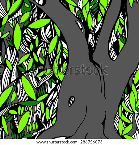 Vector Illustration of tree with green leaves - stock vector