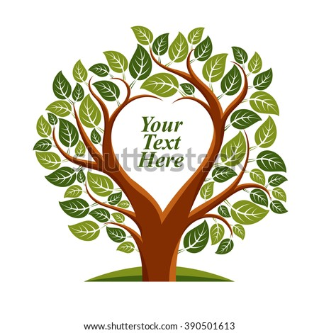 Vector illustration of tree with leaves and branches in the shape of heart with blank copy space. Love and motherhood idea image. You are free to write your text here. - stock vector