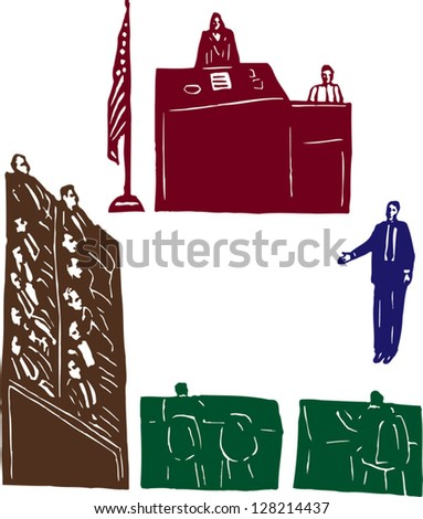 Vector illustration of trial at court - stock vector