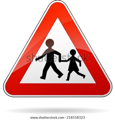 Vector illustration of triangle traffic sign for beware pedestrians - stock vector