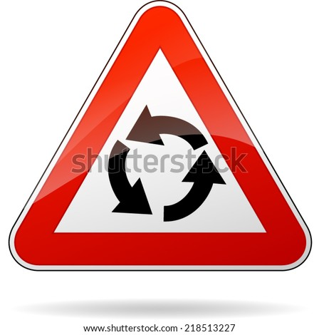 Vector illustration of triangle traffic sign for roundabout - stock vector