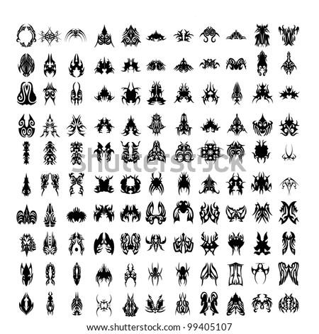vector illustration of tribal tattoos - stock vector