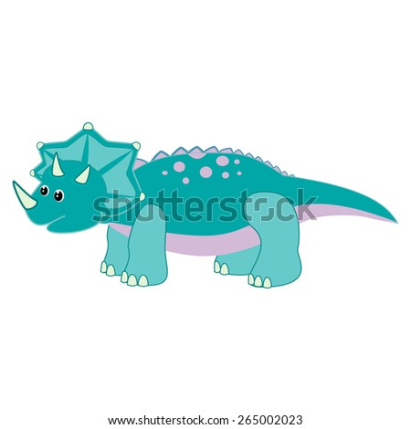 Vector illustration of Triceratops Cute baby dinosaur triceratops vector - stock vector