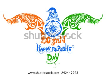 vector illustration of tricolor bird for Indian Republic Day - stock vector