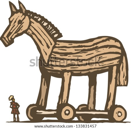 Vector illustration of Trojan horse - stock vector