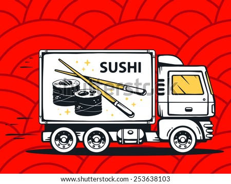 Vector illustration of truck free and fast delivering sushi to customer on red pattern background. Line art design for web, site, advertising, banner, poster, board and print. - stock vector
