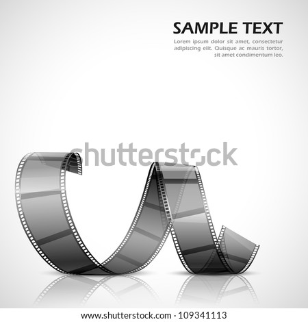 vector illustration of twisted filmstrip against abstract background - stock vector