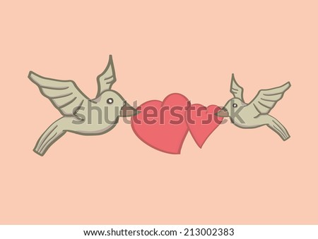 Vector illustration of two birds holding two hearts with their beaks and flying in the air. - stock vector
