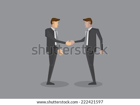 Vector illustration of two business executives of different ethnicity shaking hands. Full body isolated on grey background. - stock vector
