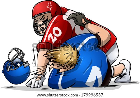 Vector illustration of two football players fighting.  - stock vector