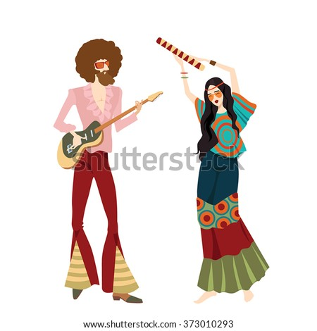 vector illustration of two hippies playing musical instruments and dancing, in cartoon style - stock vector