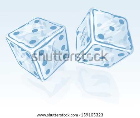 Vector illustration of Two ice dices - stock vector