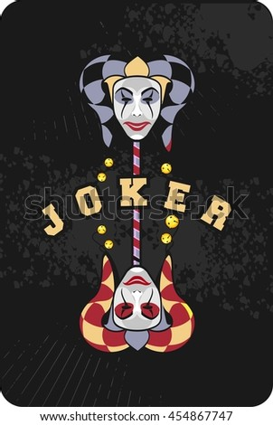 vector illustration of two joker mask on a black background playing card - stock vector