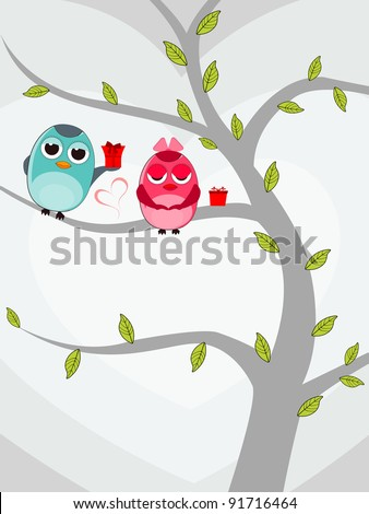 Vector illustration of two love birds sitting on tree with gift boxes on white background for Valentines Day. - stock vector
