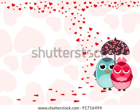 Vector illustration of two love birds under with umbrella on heart shape background for Valentines Day. - stock vector