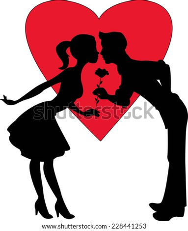 vector illustration of two lovers silhouette with a big red heart on the background - stock vector