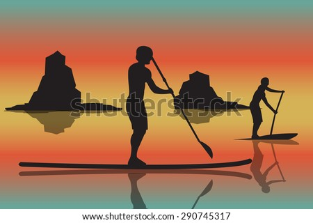 vector illustration of two men with stand up paddle boards and paddles on the colorful sunset background with shadows as template for your design, article or print - stock vector