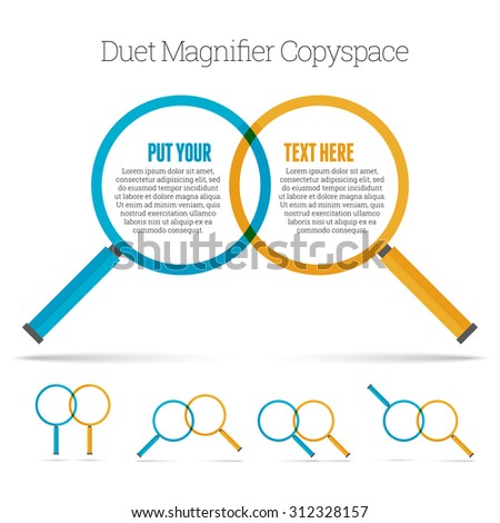 Vector illustration of two minimalistic magnifier copyspace design element. - stock vector
