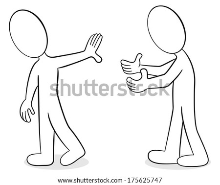 vector illustration of two people that are of different opinion - stock vector