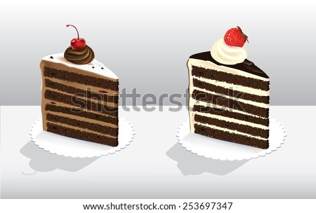 Vector illustration of two pieces of cakes decorated with berries - stock vector