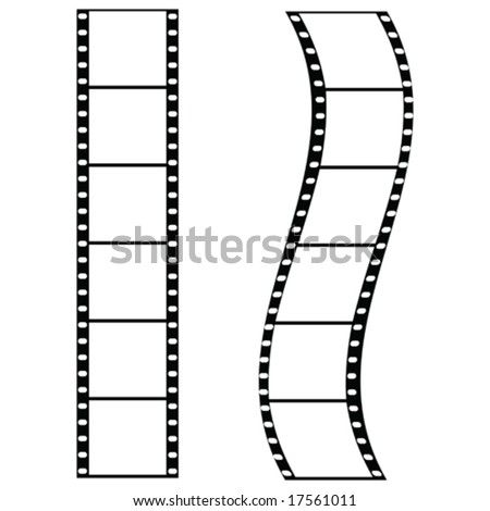 Vector illustration of two strips of film: one straight and one curved. For jpeg version, please see my portfolio. - stock vector