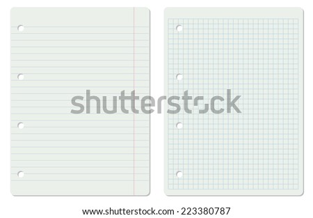 Vector illustration of two white school paper sheets, lined and squared - stock vector