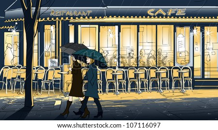 Vector illustration of two women strolling in the rain in a street of Paris - stock vector