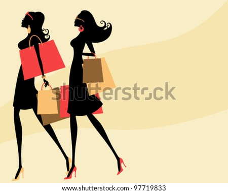 Vector illustration of two young fashionable women shopping. - stock vector