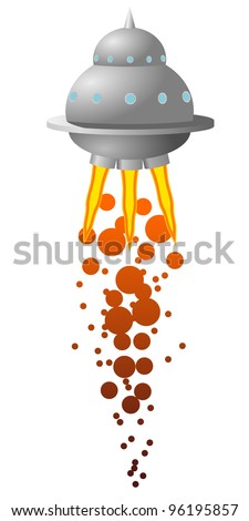 Vector illustration of UFOs - stock vector