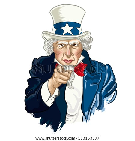 Vector illustration of Uncle Sam - stock vector